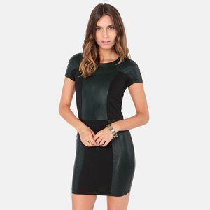 NWT Lucca Couture Dark Green Vegan Leather Dress